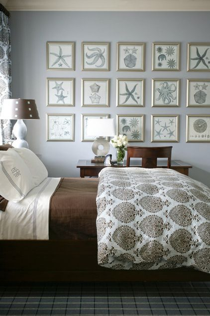 A blue-and-brown color palette was very popular on the site this year, and Houzzers loved the mix of patterns on the bedding and carpet.