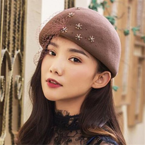ced4cc89821 Rhinestone wool beret hat with veil for women fashion occasion winter hats