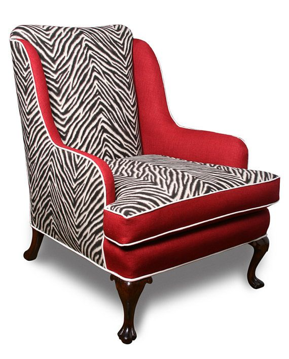 Vintage Wingback Chair With Zebra Print