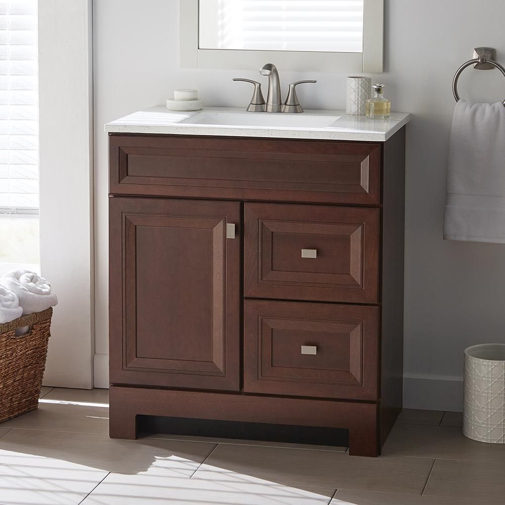 Home Decorators Collection Sedgewood 30 1 2 In W Bath Vanity In Dark Cognac With Solid Surface Technology Vanity Top In Arctic With White Sink Pplnkdcg30d Th 30 Inch Vanity Vanity White Sink