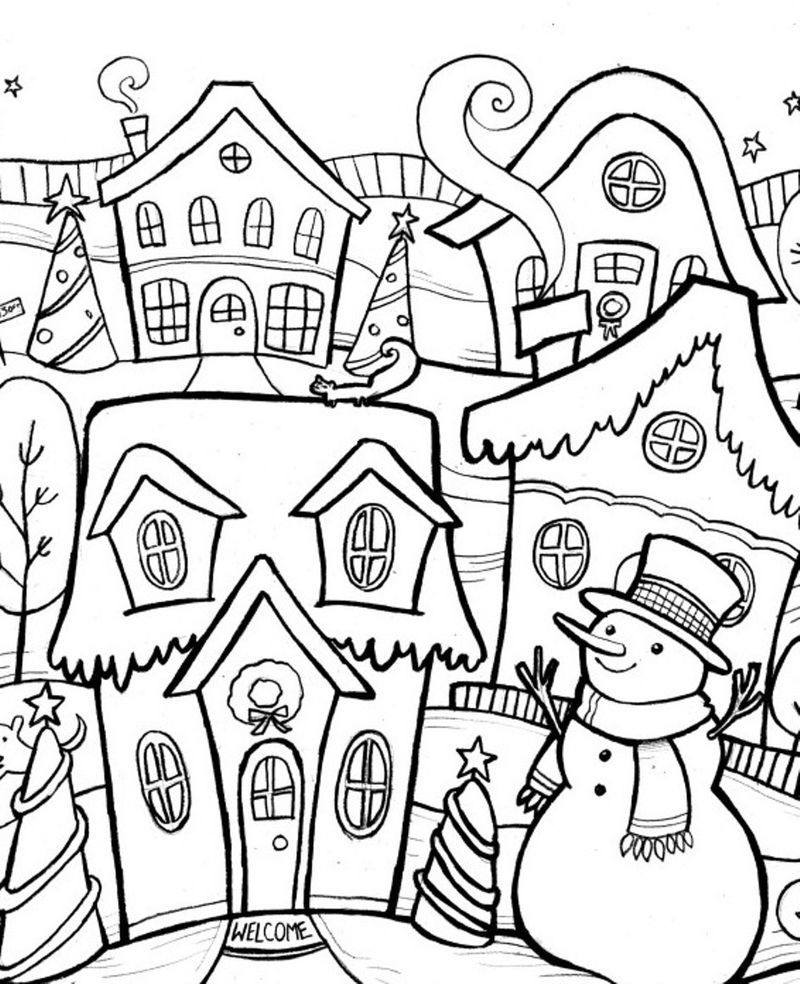 Snowman In Winter Town Scene Coloring Page Snowman