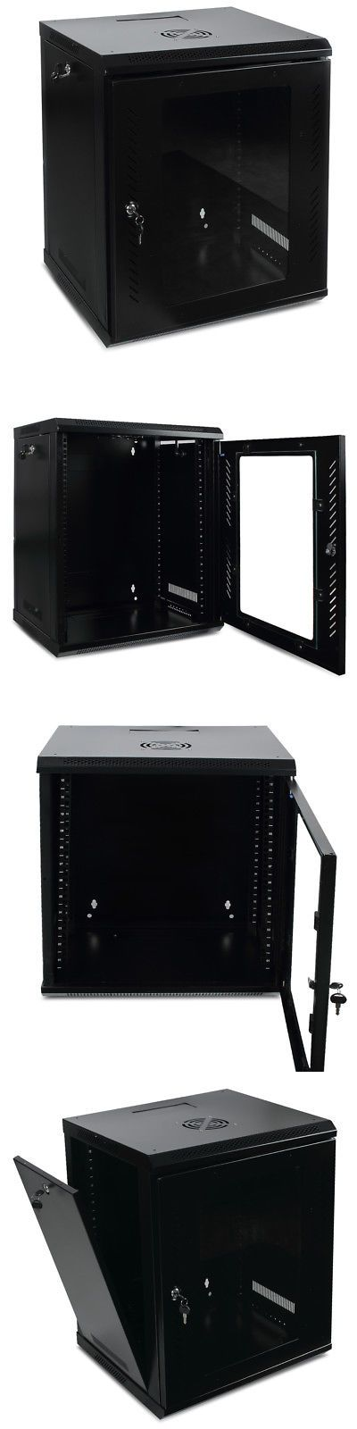 12u Wall Mount Network Equipment Server Data Cabinet Rack Glass Door Black Glass Door Patch Panels Data Cabinet