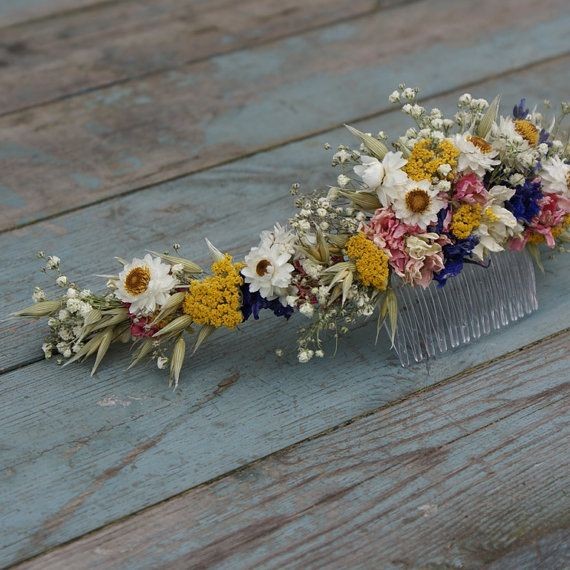 Photo of Festival Meadow Dried Flower Half Hair Crown with Comb