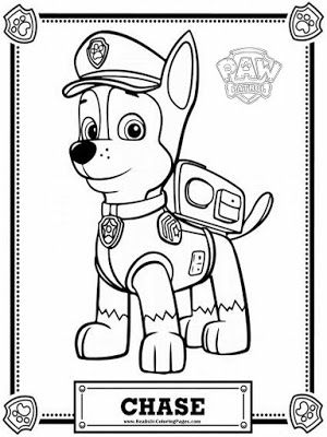 Chase Paw Patrol Coloring Pages Marshall