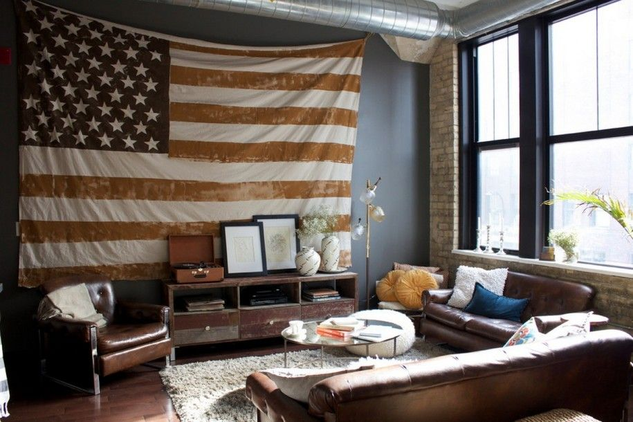 Modern Patriotic Interior Design for Small Spaces : American Flag Country Living Room Patriotic Touches Home & Modern Patriotic Interior Design for Small Spaces : American Flag ...