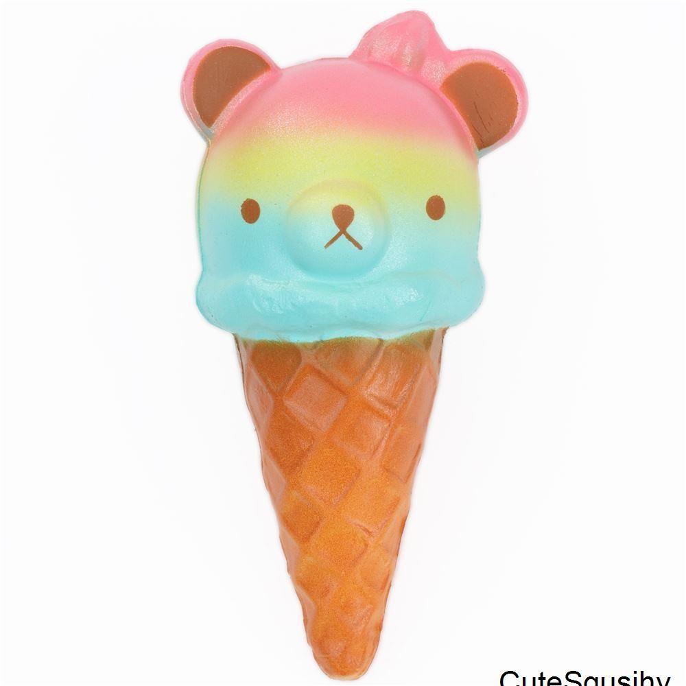 squishy de comida en forma de helado cabeza de oso arcoiris
