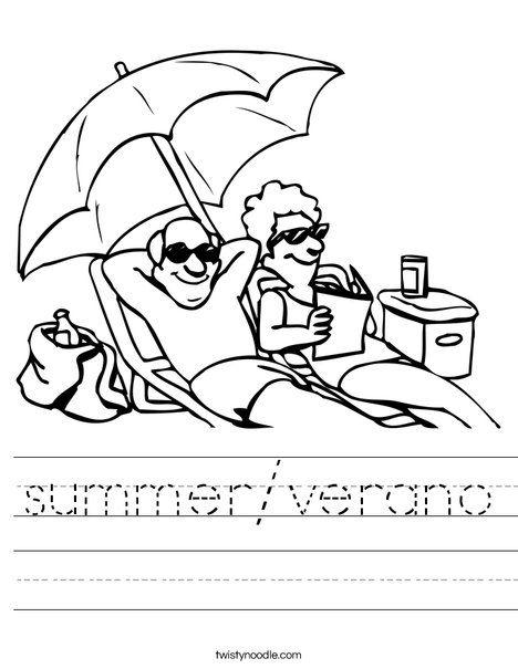 summer/verano Worksheet - Twisty Noodle   Beach coloring ...