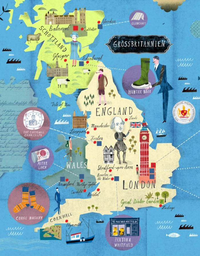 Amazing illustrated map of Wales features representations of the – England Travel Map