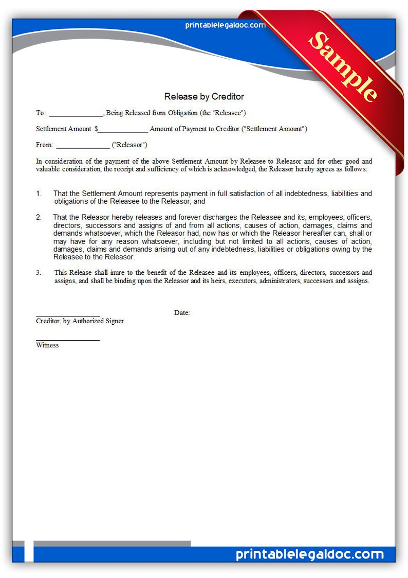 Free Printable Release By Creditor Legal Forms  Free Legal Forms