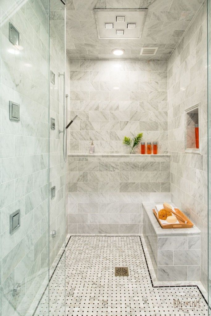 Timeless Bathroom Design - Carrera Marble - Luxury Steam Shower with  Chromotherapy Rainhead and Mutliple Sprays