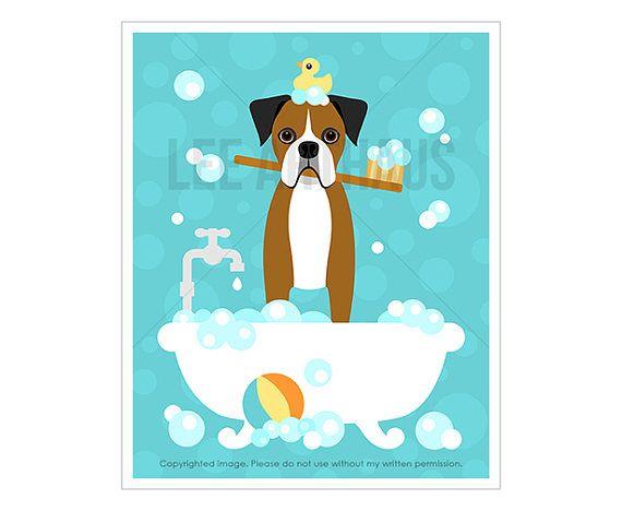 463d Dog Print Brown Boxer Dog In Bubble Bath Wall Art