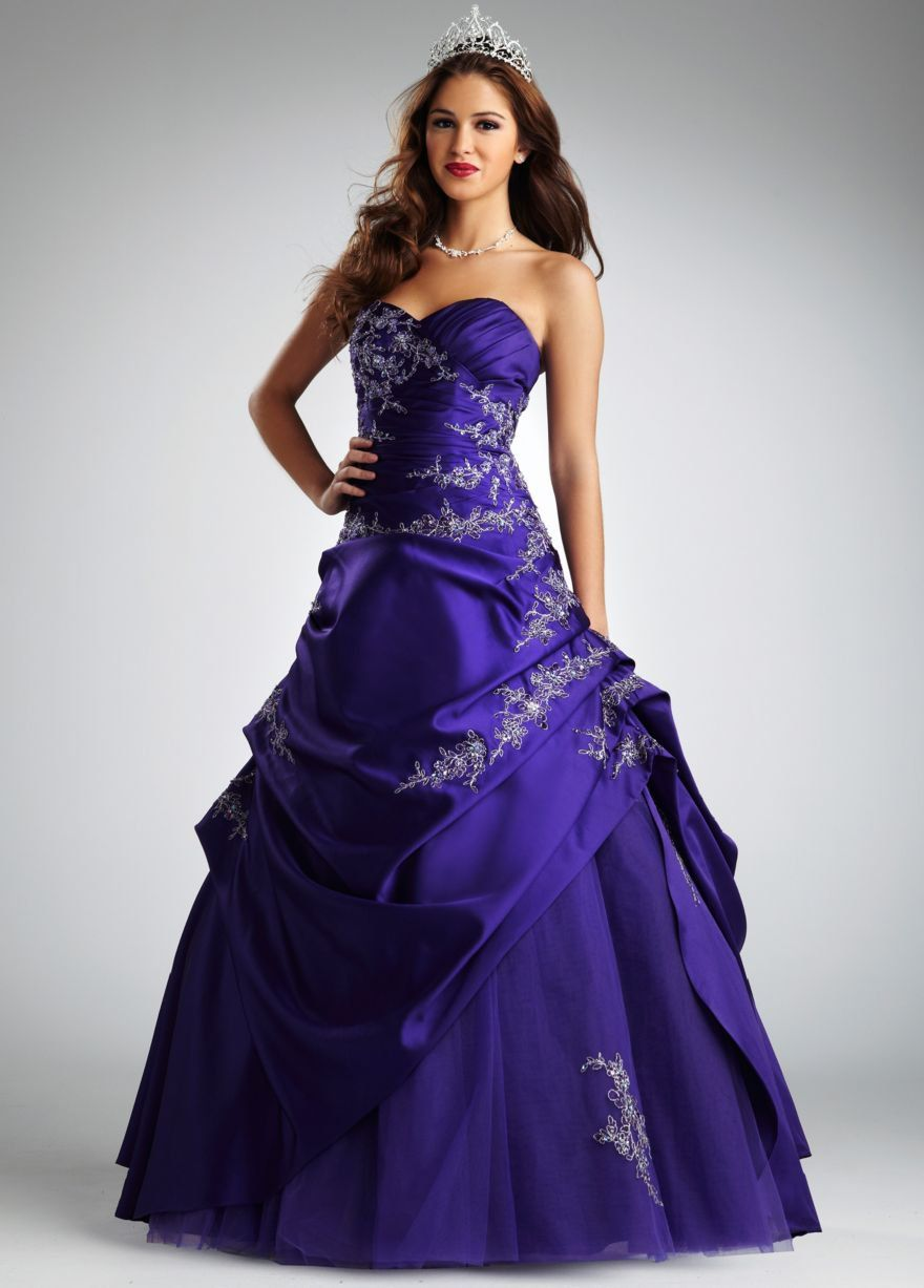 Satin and Tulle Asymetrical Pick Up Ball Gown - David\'s Bridal ...