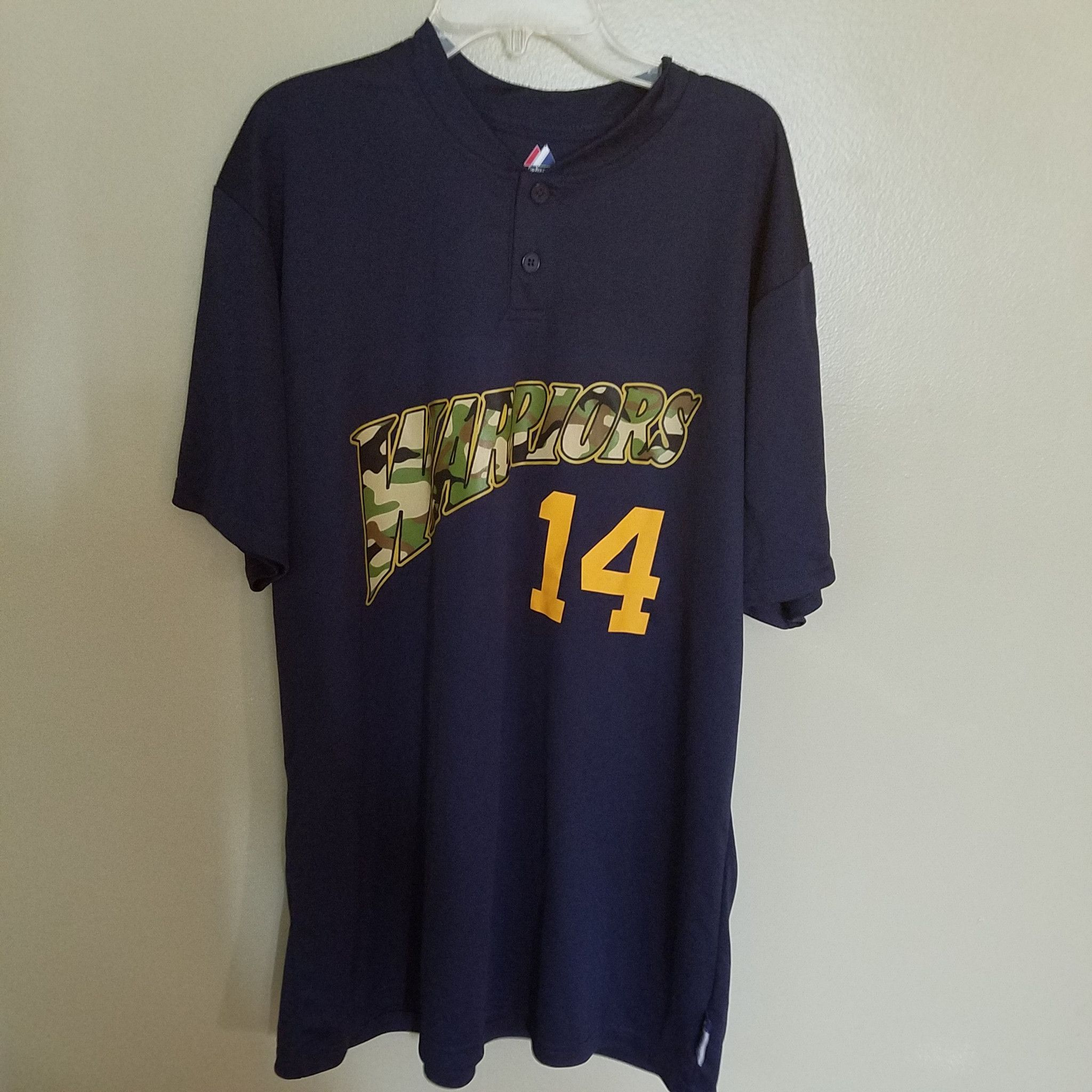 GOLDEN STATE WARRIORS #14 CAMO MAJESTIC 2 BUTTON SHIRT SIZE LARGE ADULT COOL BASE