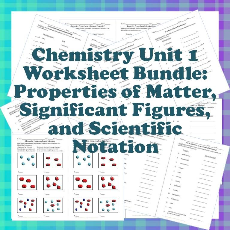 Chemistry Worksheet Bundle! The first unit of the year is covered in ...