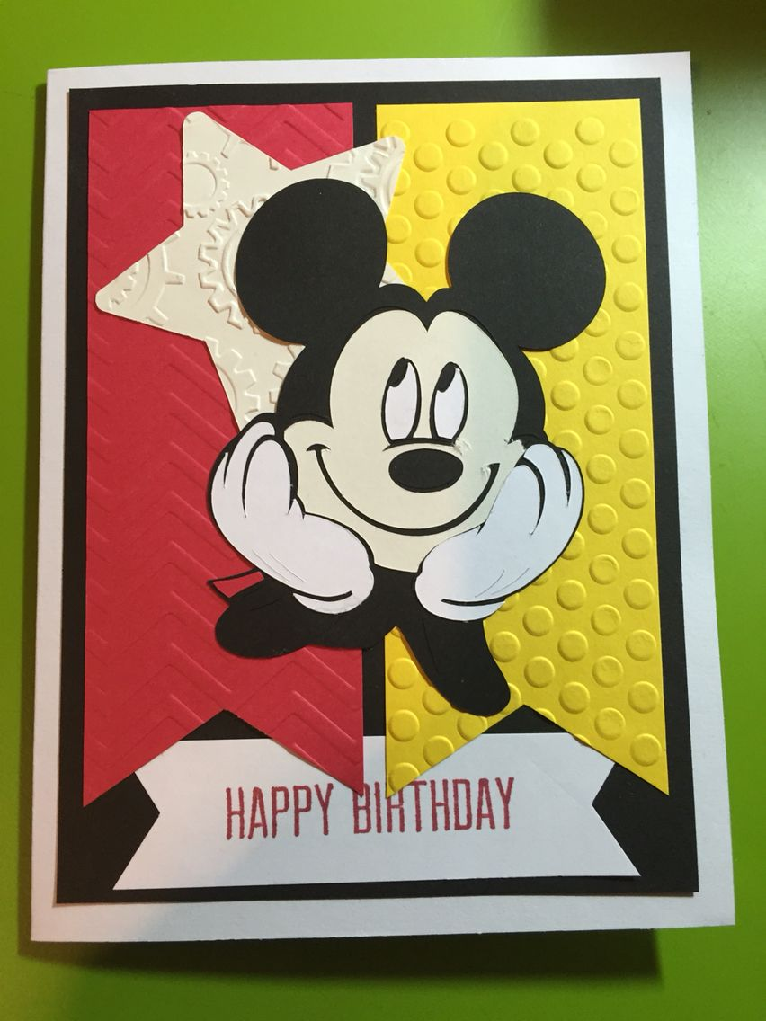 Handmade Mickey Mouse Happy Birthday Card Kids Birthday Cards Disney Birthday Card Disney Scrapbook