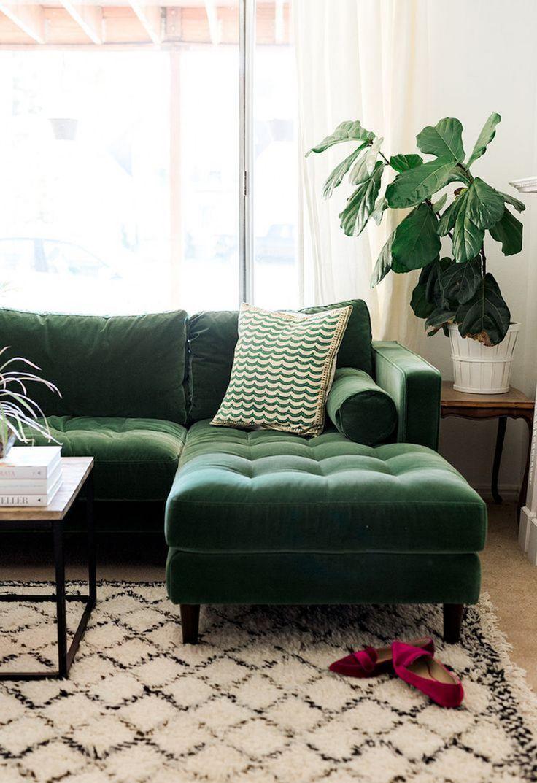 Green Velvet Tufted Sofa via The House