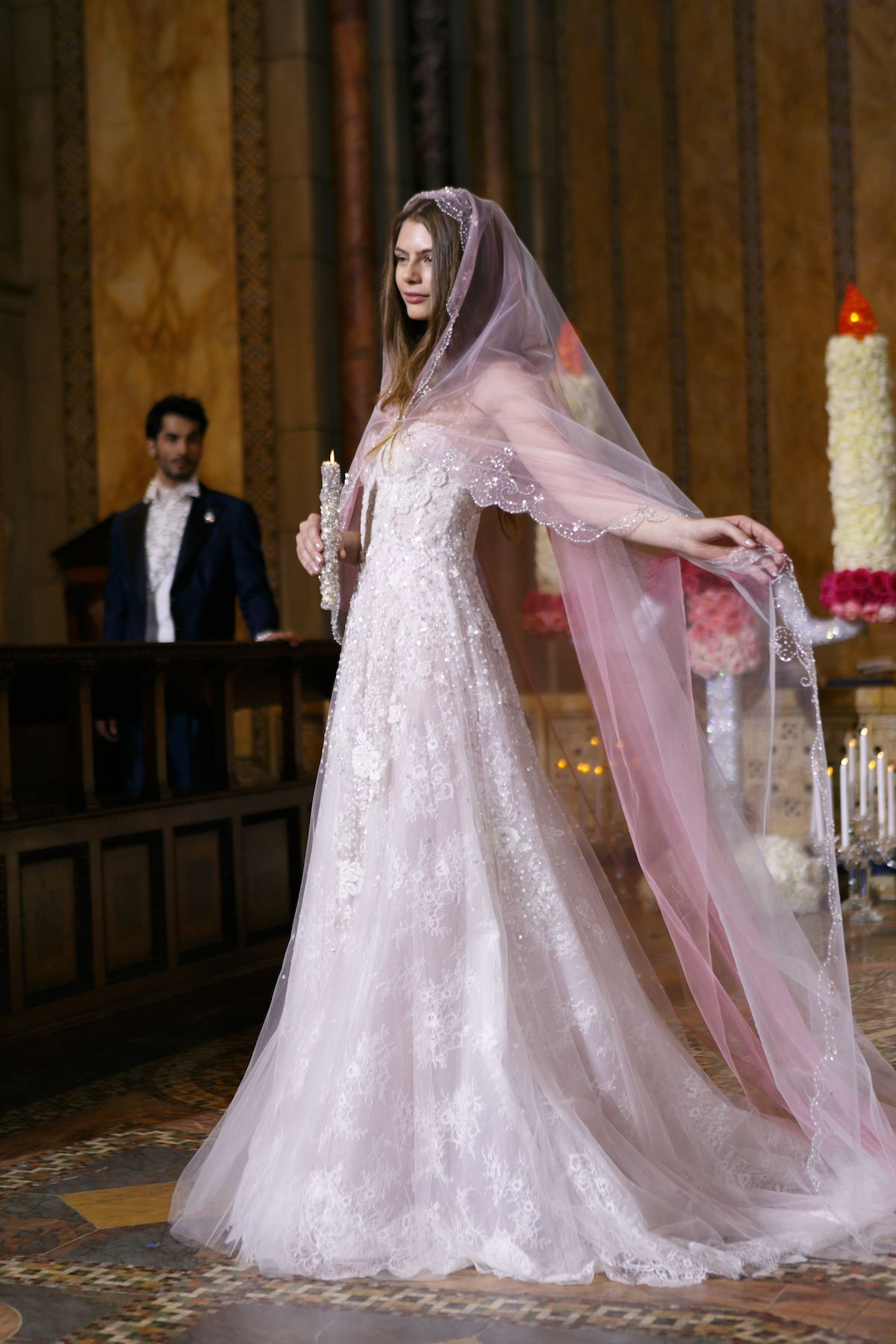 867b0fe2ea6b LAce wedding dress with blus veil | Reem Acra takes us to Church with her  Spring