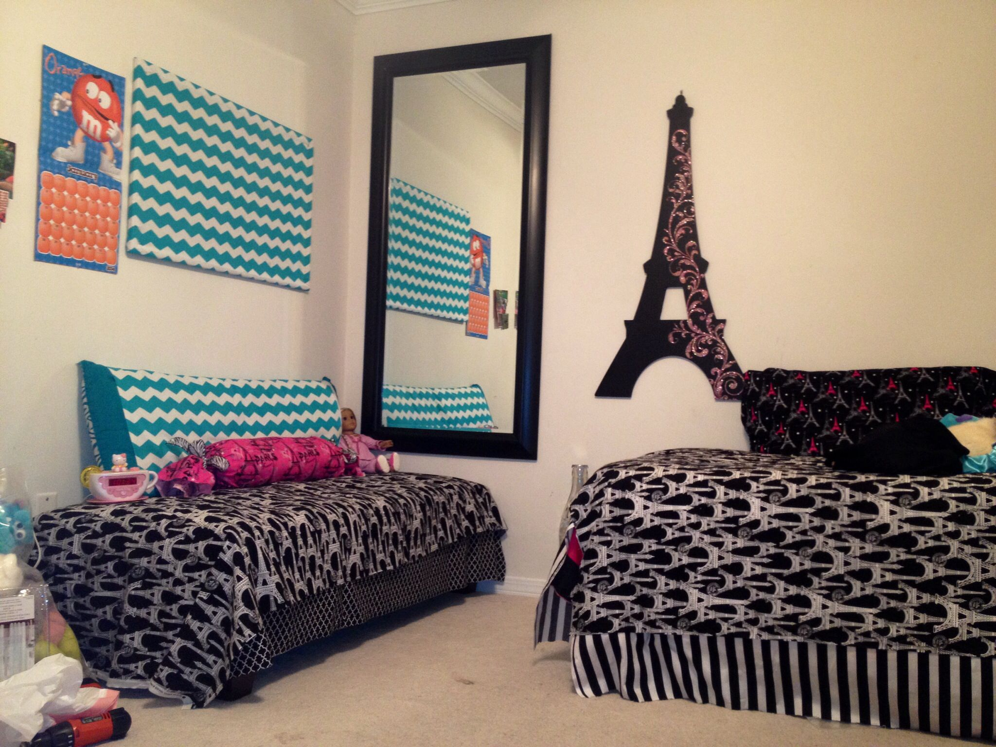 13 Year Old Girls Room Make Over Paris Eiffel Tower Theme
