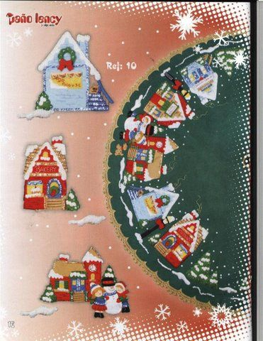 Free Copy of Pattern - Bucilla Christmas Town Tree Skirt (the pattern  pieces are labeled Ref:10) - Free Copy Of Pattern - Bucilla Christmas Town Tree Skirt (the