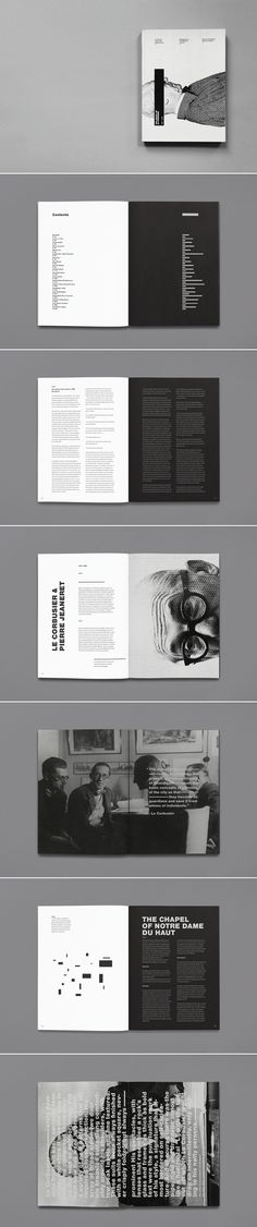 Alternate background colors to delineate different content. Doing it in black and white makes the contrast even bolder.   The Legacy of Le Corbusier