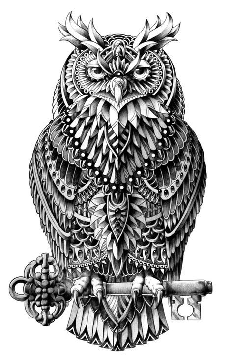 Great Horned Owl Animal art print black and white ornately ...