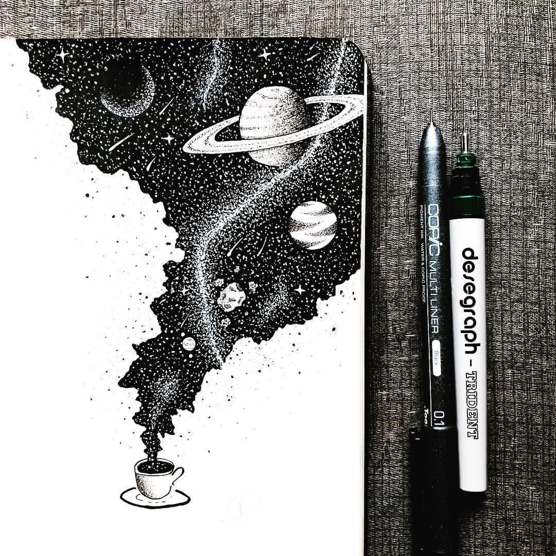 An entire universe of flavor inside a cup of coffee ☕️. . . . . . . . . #art #illustration #blackwork #artist #ink #artwork #coffee #space…