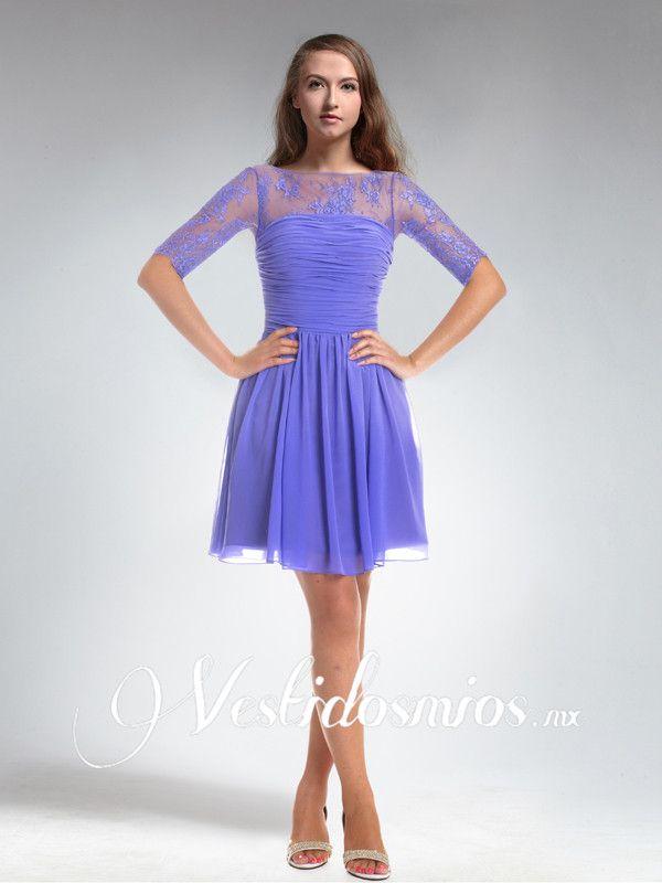 Vintage Vestido Corto de Fiesta con Encaje Mangas VP251 [VP251 ...