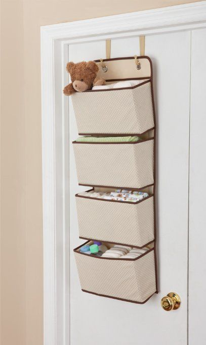 4 Pocket Hanging Wall Organizer Beige Over Door Toys Underwear Socks  Storage Bin #Delta