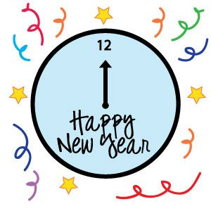 free new years clock clipart