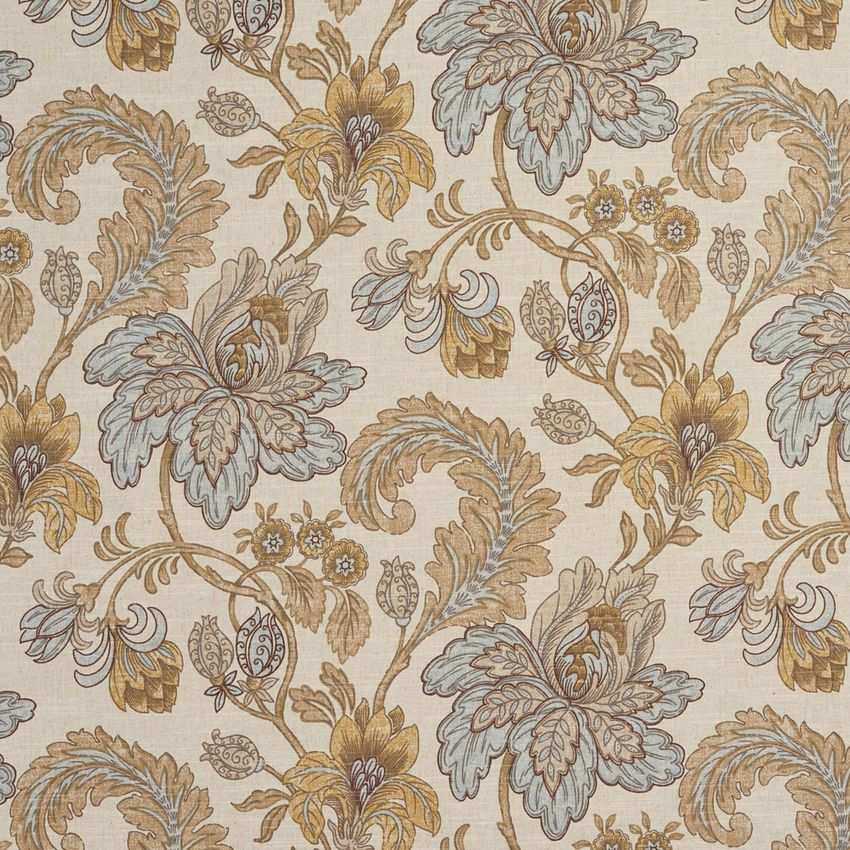 Beige Teal And Gold Floral And Foliage Print Linen Upholstery Fabric Linen Upholstery Fabric Blue And Gold Wallpaper Upholstery Fabric
