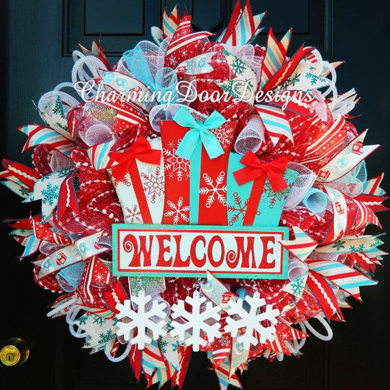 Red Turquoise Not Just For Holiday Decor: Welcome Christmas Mesh Wreath, Christmas Decor, Christmas