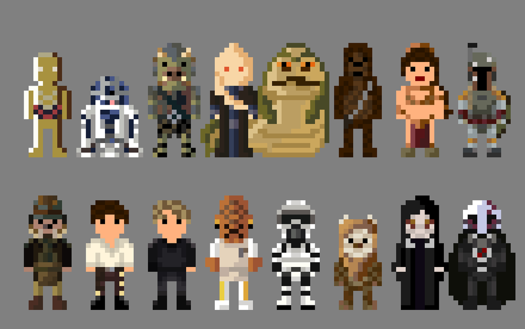 Star Wars Return Of The Jedi Characters 8 Bit By