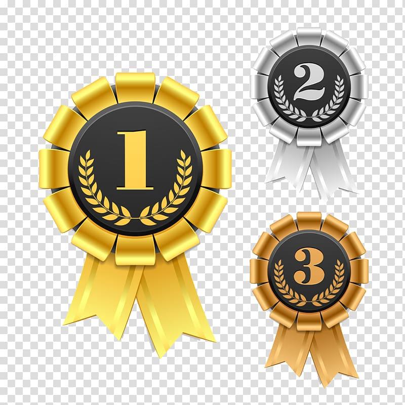 Gold Silver And Bronze Medals Ribbon Award Rosette Gold And Silver Bronze Design Transparent Background Png Clipart Objek Gambar Bingkai Desain