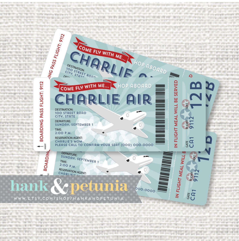 Printable Airplane Birthday Invitation Boarding by HankandPetunia ...