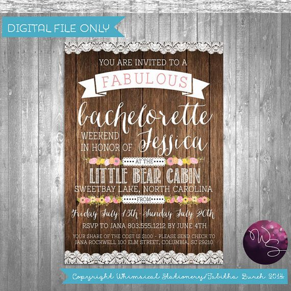 Bachelorette camping weekend invitations let 39 s go glam for Cabin bachelor party