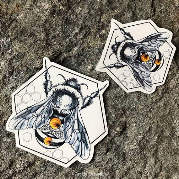 Photo of Bee tattoo, geometric tattoo, bee body art, bee tattoo, …