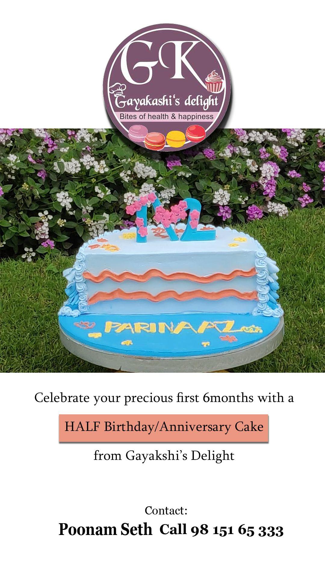 cake baker india Half birthday cakes, Half birthday
