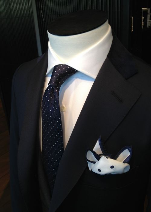 605b2486b95c Navy blue pin dot tie paired with midnight blue suit, white shirt, and  polka dot pocket square