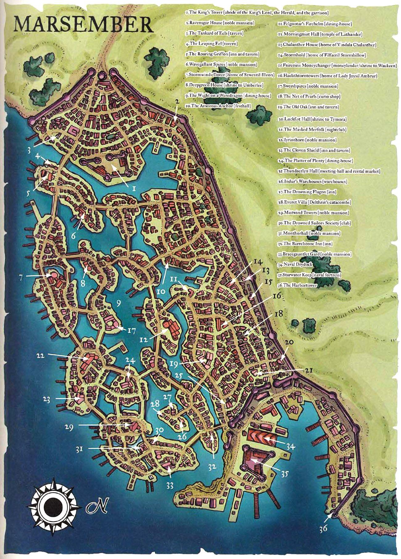 Carte Du Port De Marsembre Fantasy World Map Fantasy Map