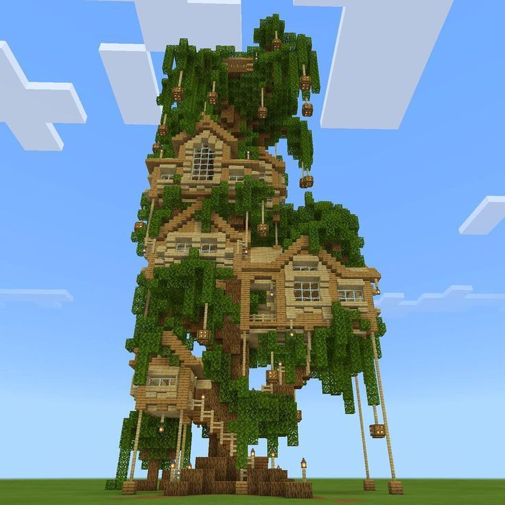Big Minecraft Fairy Treehouse Built From Oak Wood Blocks And