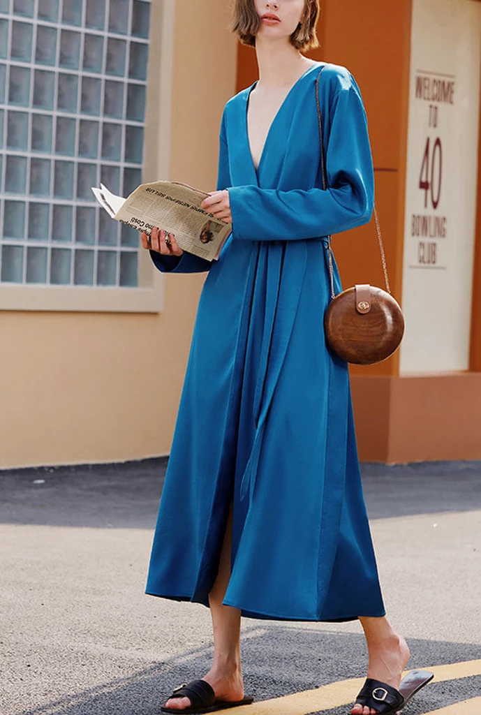 Vintage Pajamas Peacock Blue Maxi Dress #blackmaxidress