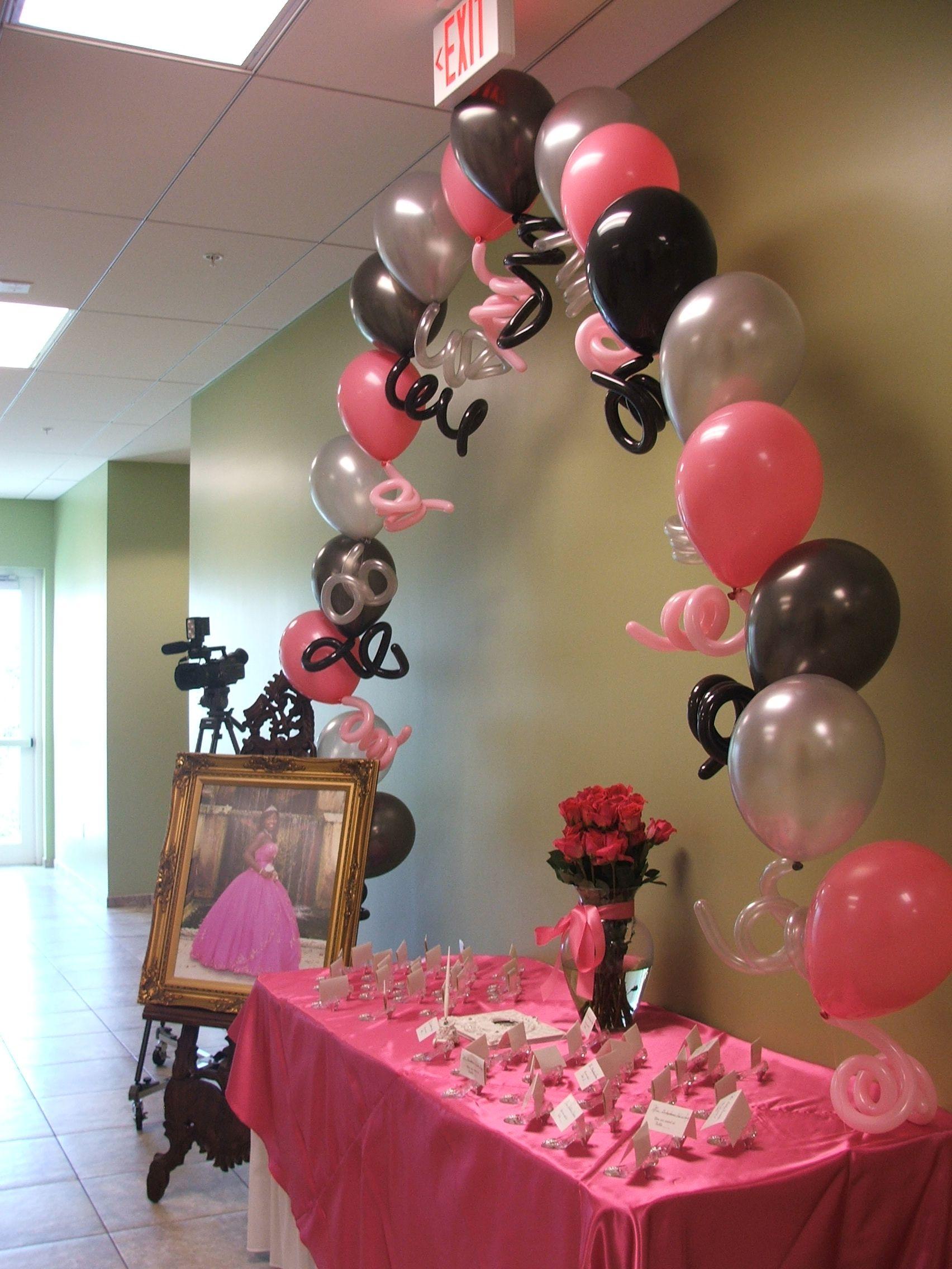 Sweet Sixteen Balloon Arch Entrance Dreamarkevents 16 Birthday 16th