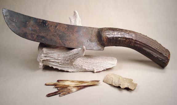 Fur Trade Era Style Knife With Antler Handle Fur Trade