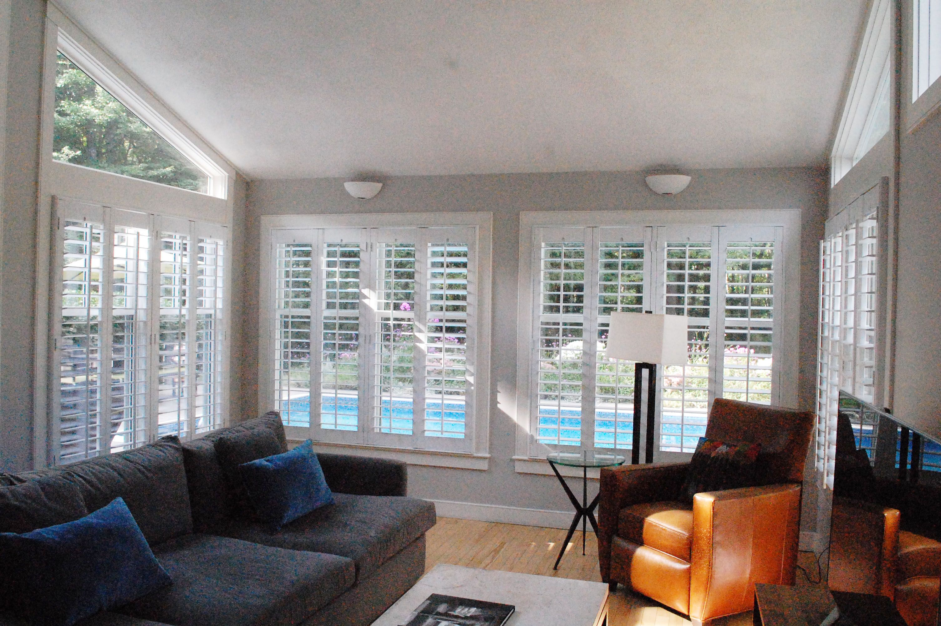 This Sunny Room Looks Great With Our Plantation Shutters! All The Light You  Need And What A Nice View Of The Pool!