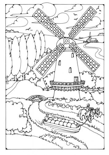 free new holland coloring pages | Windmill - Holland themed coloring pages - Kleurplaten ...