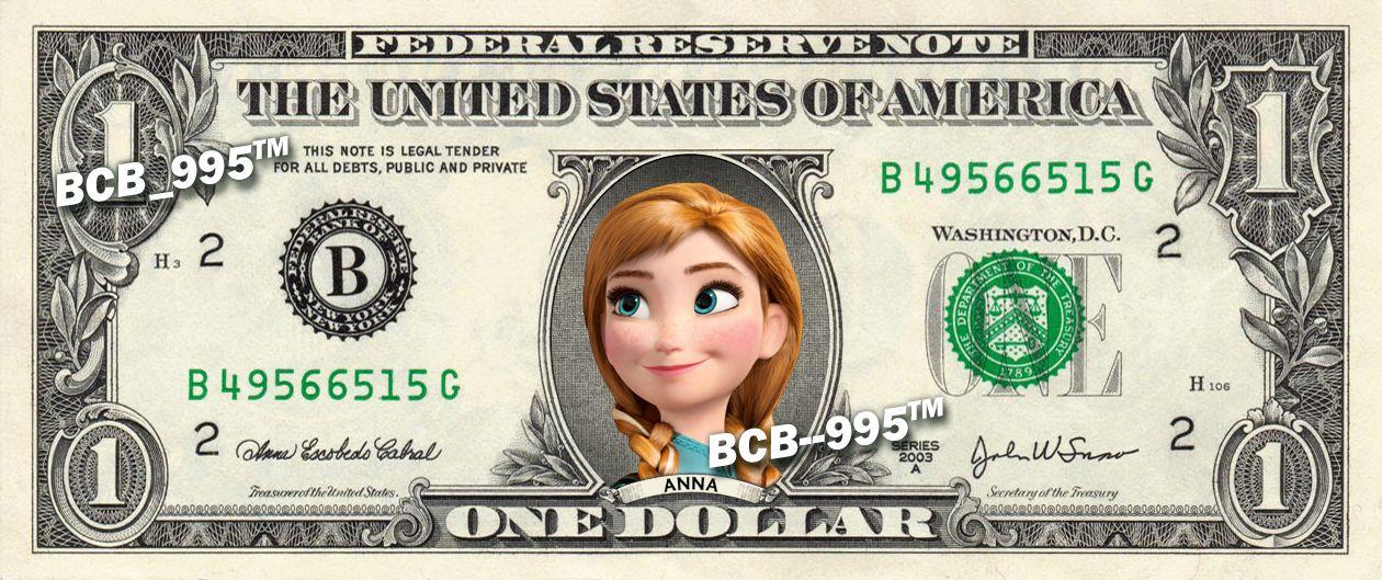 Disney\u0027s Anna (Frozen) on REAL Dollar Bill - 100 Celebrity Custom
