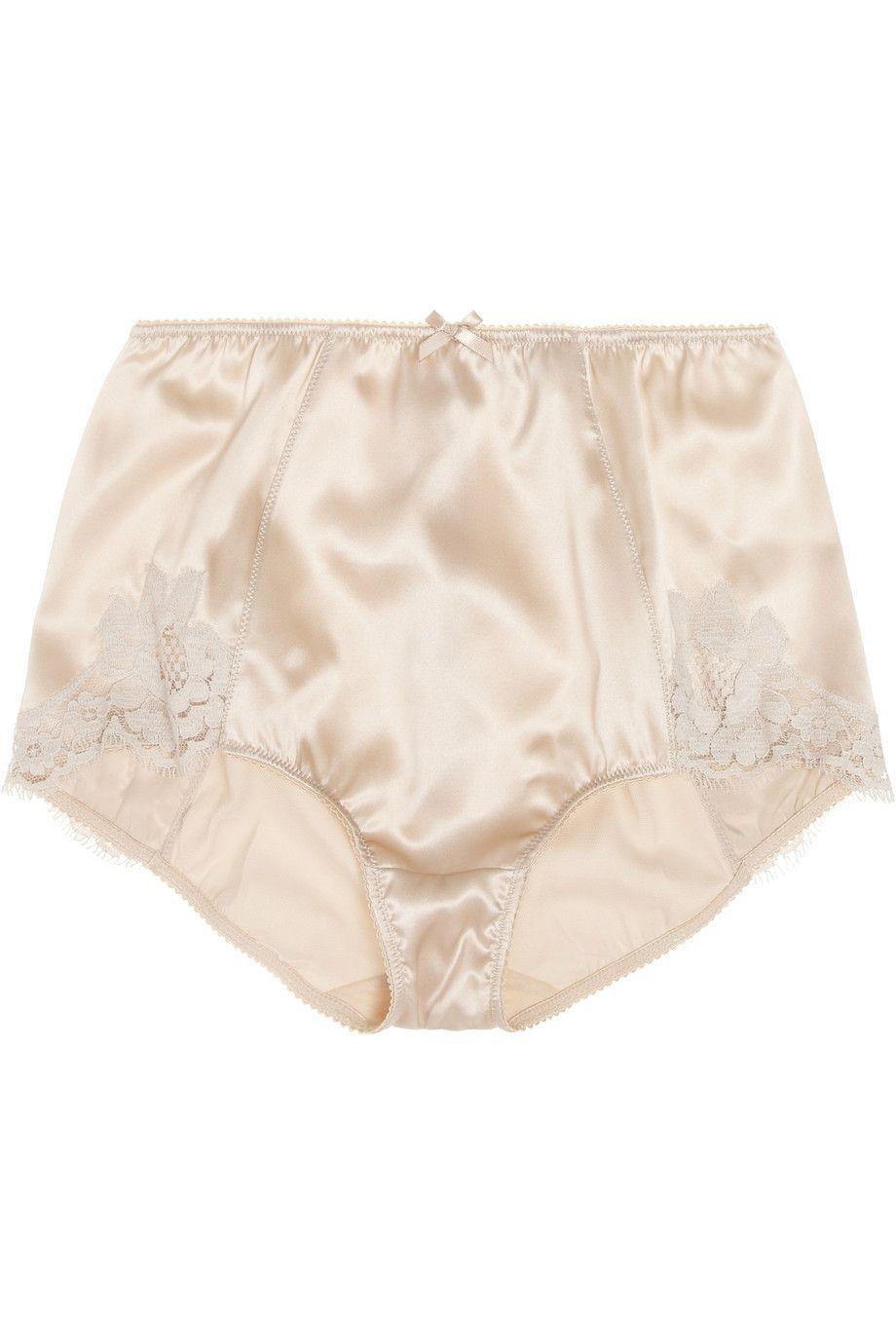 418f5e32bc3f Dolce & Gabbana High-rise lace-trimmed stretch-silk satin briefs ...