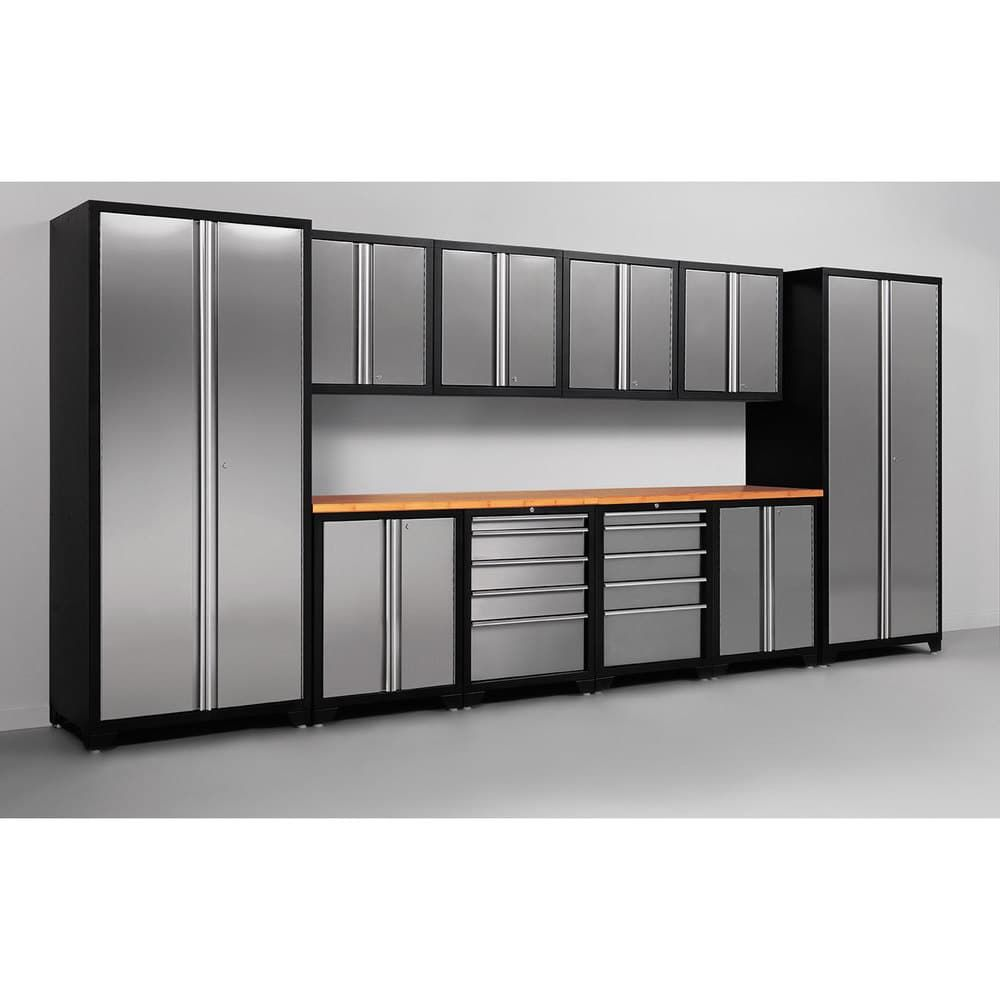 Top 70 Best Garage Cabinet Ideas: NewAge Products Pro Stainless Steel 12-piece Cabinetry Set