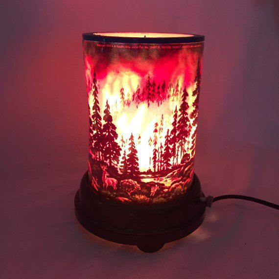Novelty Lamp C 1949 Forest Fire Ab Leech Novelty Lamp Lamp Forest Fire