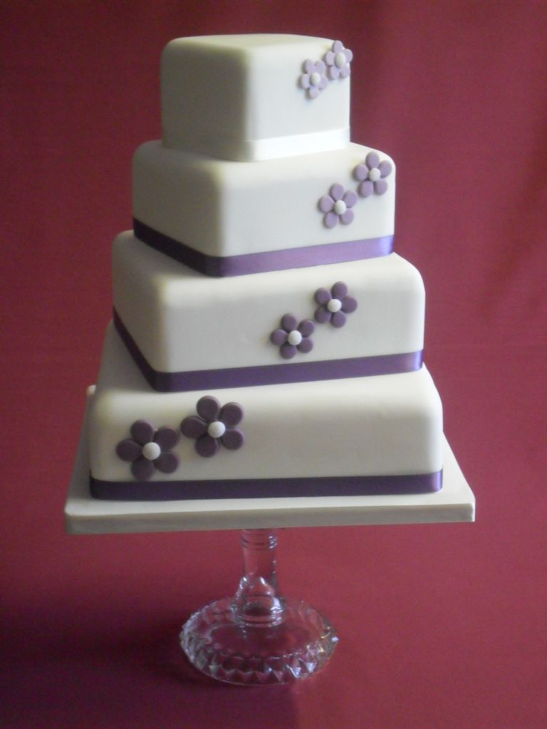 4 Tier Stacked Square Fake Topper Sugar Flowers Wedding Cake